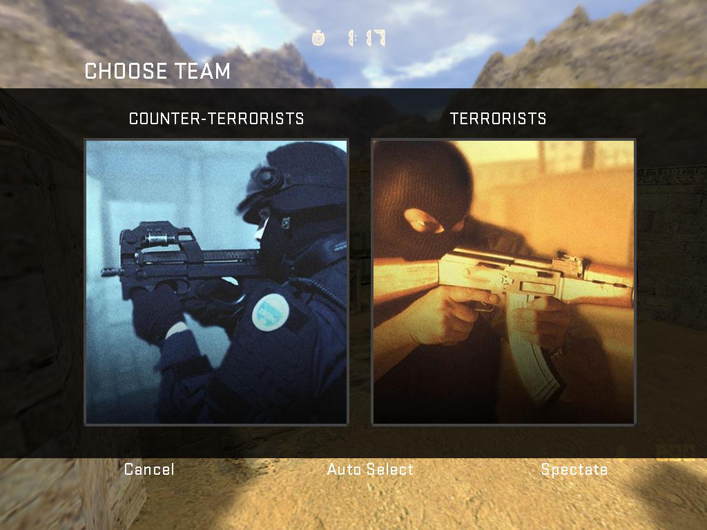 منو انتخاب تیم شبیه سازی شده ( CSGO  team Selection menu )